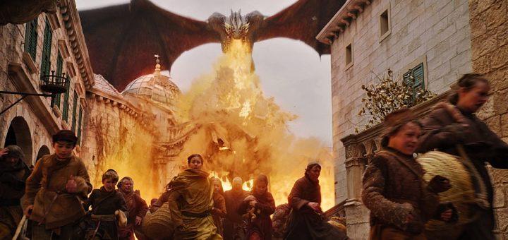 Drogon burning Kings Landing em Game of Thrones
