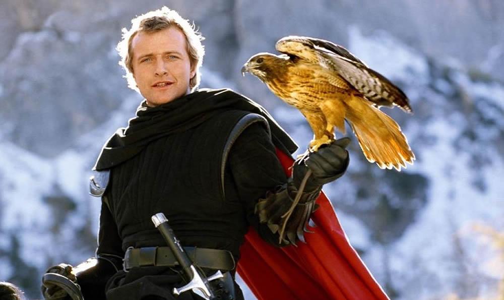 O Cavaleiro Navarre e Isabeau em sua forma de águia em O Feitiço de Áquila