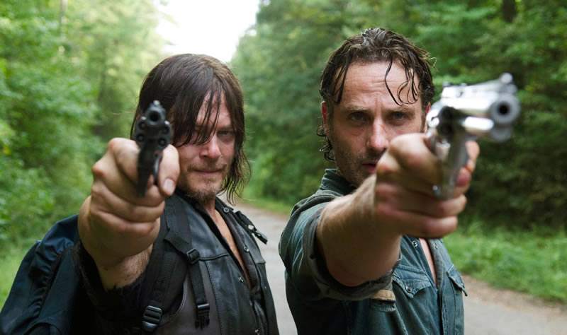 Rick Grimes e Daryl Dixon na série The Walking Dead