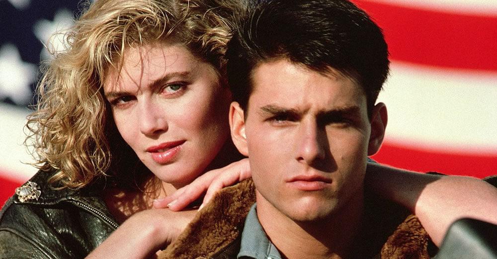 Tom Cruise e Kelly McGillis em Top Gun - Ases Indomáveis